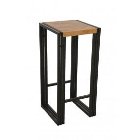 Tabouret de bar assise bois finition naturelle / pieds cadre métal finition naturelle avec inscription