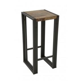 Tabouret de bar assise bois finition vieillie colorée et blanchie