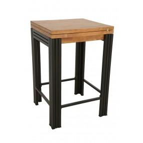 Table de bar carrée 70cm Wolof finition naturelle avec inscription