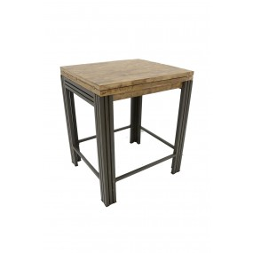 Table de bar carrée 70cm Wolof finition vieillie colorée et blanchie