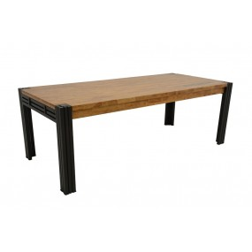 Table repas 220cm extensible Wolof finition naturelle avec inscription
