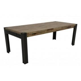 Table repas 220cm extensible Wolof finition vieillie colorée et blanchie