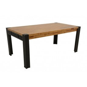 Table repas 180cm extensible Wolof finition naturelle avec inscription