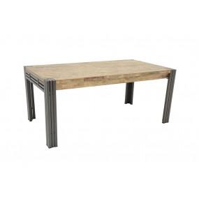 Table repas 180cm extensible finition vieillie colorée et blanchie