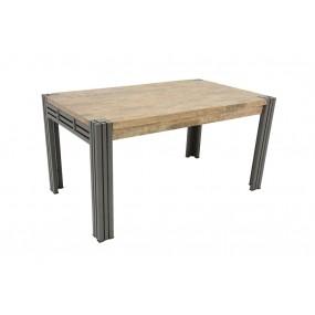 Table repas 150cm extensible Wolof finition vieillie colorée et blanchie