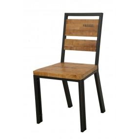 Chaise bois et fer factory aspect naturel finition naturelle avec inscription