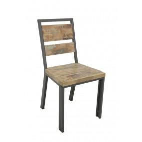 Chaise bois fer factory avec inscriptions finition vieillie colorée et blanchie