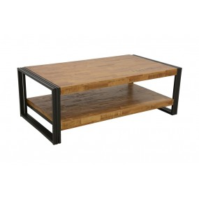 Table basse rectangle Wolof finition naturelle avec inscription