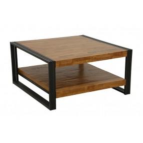 Table basse carrée Wolof finition naturelle avec inscription