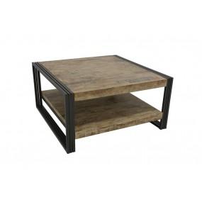 Table basse carrée Wolof finition vieillie colorée et blanchie