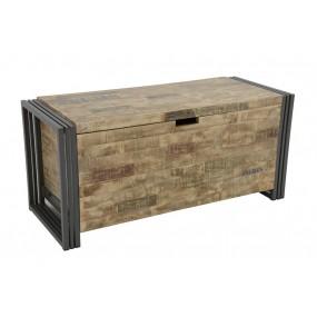 Gand coffre bois fer finition vieillie colorée et blanchie (1 m)