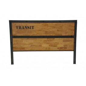 Tête de lit bois aspect naturel et fer finition naturelle avec inscription