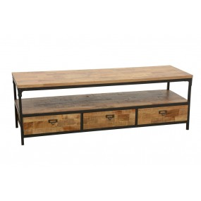Meuble TV 3 tiroirs 150cm Wolof finition naturelle vieillie