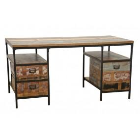 Bureau bi-matière 2 tiroirs classiques et un tiroir range dossiers finition recyclée