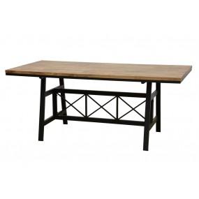 Table repas plateau bois structure fer croisé finition naturelle vieillie