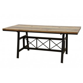 Table repas plateau bois structure fer croisé finition recyclée (180cm)