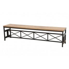 Banc long démontable assise bois pieds métal finition naturelle vieillie