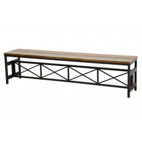 Banc long démontable assise bois pieds métal finition recyclée (1m80)