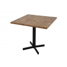 Table carrée de bar pied en croix Wolof finition naturelle vieillie