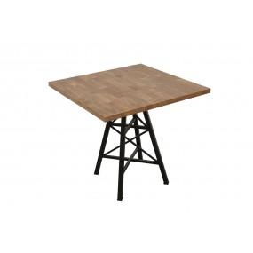 Table bois carrée de bar pied Eiffel finition naturelle vieillie