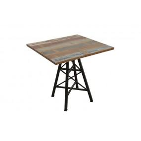 Table carrée de bar pied Eiffel finition recyclée