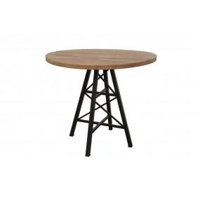 Table bois ronde de bar pied métal Eiffel finition naturelle vieillie