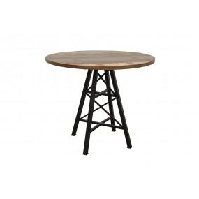 Table bois ronde de bar pied métal Eiffel finition recyclée