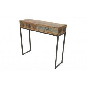 Console d'entrée 2 tiroirs en fer et bois industrielle