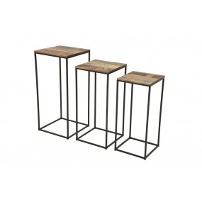 Set de 3 supports de plantes industriel fer et bois en finition recyclée