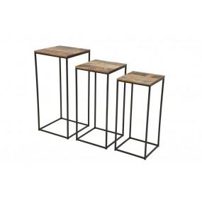 Set de 3 supports de plantes industriel fer et bois en finition recyclée