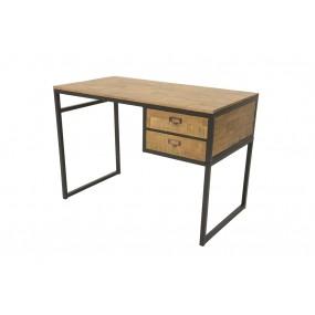 Bureau épuré industriel 2 tiroirs fer et bois en finition naturelle