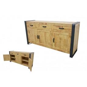 Buffet 3 tiroirs 3 portes fer plat laminé
