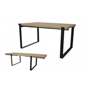 Table repas industrielle minimaliste à rallonge avec pied fer plat