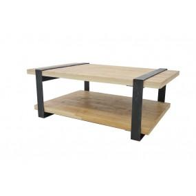 Table basse double plateau pied fer plat