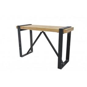 Console large fer et bois industrielle et minimaliste