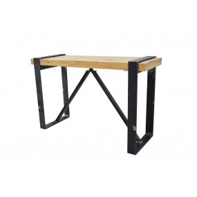 Table haute de bar industrielle rectangle avec pieds plats