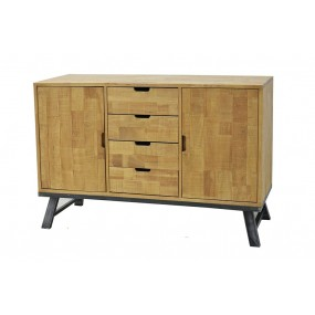 Buffet de rangement vintage industriel 2 portes 4 tiroirs
