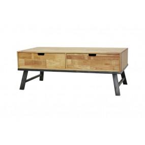 Table basse double face vintage industriel 2 tiroirs