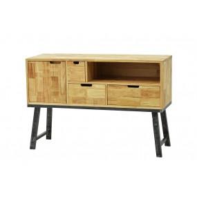 Meuble tv haut vintage industriel 1 porte 3 tiroirs 1 niche