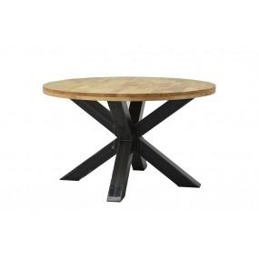 Table ronde industrielle pied mikado en fer et hévéa massif naturel