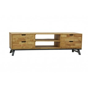 Meuble tv long 4 tiroirs 2 niches fer et bois