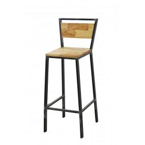 Chaise haute de bar loft industrielle finition naturelle vieillie