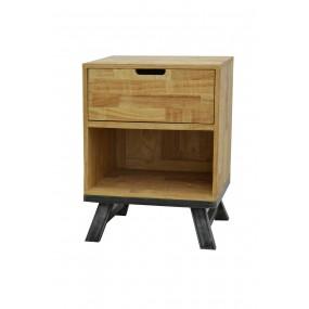 Chevet loft industriel 1 tiroir fer et bois naturel vieillie