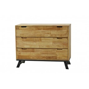 Commode industrielle loft 3 tiroirs naturelle vieillie