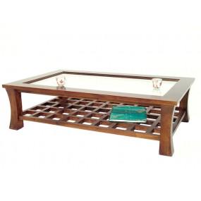 Table basse vitrée et plateau ajouré damier Blang