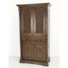Placard antique portes vénitiennes et classiques 3 tiroirs - couleur personnalisable