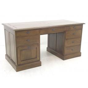 Bureau massif en bois 8 tiroirs Yugur - couleur personnalisable
