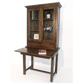 Bibliothèque avec tablette écriture à battant 4 tiroirs 2 portes Karen