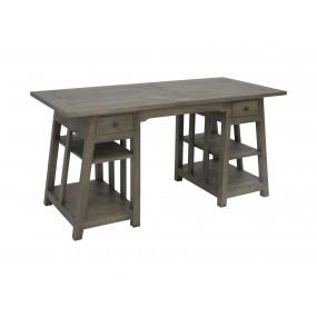 Bureau bois massif 2 tiroirs et étagères 8 pieds Moken - couleur personnalisable
