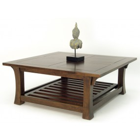 Table basse carrée double plateau Khmer